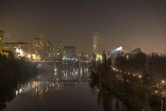 Valladolid i natten Arkivbild