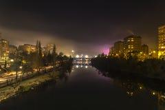 Valladolid i natten Arkivfoton