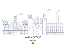 Valladolid Linear City Skyline, Spain Royalty Free Stock Images