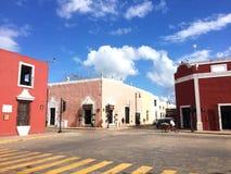 Valladolid México. Calles coloradas y coloniales en la ciudad de Valladolid México stock photography
