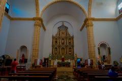VALLADOLID, MÉXICO - 12 DE NOVEMBRO DE 2017: Vista interior da igreja de Saint Servatius de San Servacio em Valladolid, Iucatão Fotografia de Stock Royalty Free