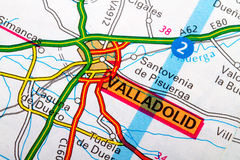 Valladolid map. The city of  Valladolid in detail on the map Royalty Free Stock Image