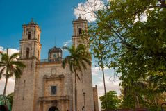 Valladolid, Mexico. Cathedral de San Servasio during the day in Valladolid the city in Yucatan, Mexico. Cloudy sky Royalty Free Stock Photos