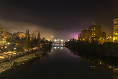 Valladolid in the night. Night sight of the river Pisuerga in Valladolid Stock Photos