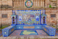 Valladolid Province, Glazed tiles bench at Spain Square, Sevill Royalty Free Stock Photo
