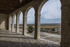 Valladolid, rural church porch. Church of stone of people of Valladolid, Spain Royalty Free Stock Image