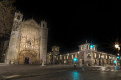 Valladolid San Paul. San Paul's square with the church of the same name in the night Royalty Free Stock Images