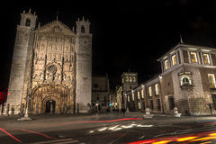 Valladolid San Paul. San Paul's square with the church of the same name in the night Stock Photos