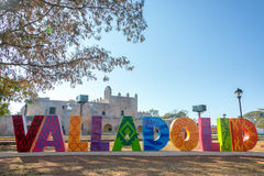 Valladolid Sign and Convent Stock Photo