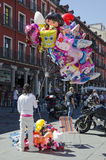 VALLADOLID, SPAIN – SEPTEMBER 2, 2012:. Street seller of balloons at the celebration of the fair and festivities of the Virgin of St. Lawrence (Virgen de San Royalty Free Stock Photos