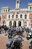 VALLADOLID, SPAIN – SEPTEMBER 2, 2012:. Concentration of motorcycles in front of City Hall at the celebration of the fair and festivities of the Virgin of St Royalty Free Stock Photo