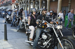 VALLADOLID, SPAIN – SEPTEMBER 2, 2012:. Motorcycles parade for the main square of the city during the celebration of the fair and management holidays of the Royalty Free Stock Photography