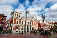 Plaza Mayor in Valladolid. VALLADOLID, SPAIN - DECEMBER 30, 2017: Wide-angle view of the main square Plaza Mayor in Valladolid on a cloudy Winter morning, with Stock Photography