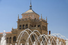 Valladolid Spain: fountain and palace Stock Photo