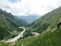 Vallata ed erba della montagna Fotografie Stock Libere da Diritti