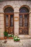 Valldemossa-beautifuls Straßen mit altem stockfotos