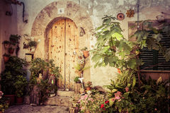 Valldemossa doors. Valldemossa historic doors with many plants Royalty Free Stock Image