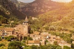 Valldemossa mallorca sunset. Valldemossa village on mallorca sunset Stock Photography