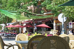 Valldemossa street scene with restaurant Royalty Free Stock Photography
