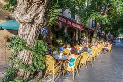 Valldemossa ulicy kawiarnia zdjęcie stock