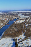 Valle aéreo Wisconsin de Chippewa del invierno Foto de archivo