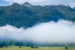Valle alpino en la niebla de la mañana, sobre el lago Bohinj Foto de archivo