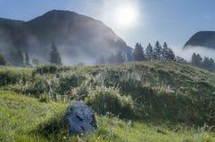 Valle alpino en la niebla de la mañana, sobre el lago Bohinj Fotos de archivo libres de regalías