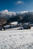 Valle asoleado del invierno Imagen de archivo libre de regalías