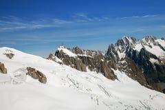 Valle Blanche im Mont Blanc-Gebirgsmassiv Stockbild
