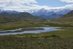 Valle Chacabuco in northern Patagonia, Chile. Landscape of mountains and lakes in Valle Chacabuco in northern Patagonia, Chile Stock Photos