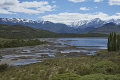 Valle Chacabuco in northern Patagonia, Chile. Landscape of mountains and lakes in Valle Chacabuco in northern Patagonia, Chile Stock Image