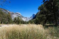 Valle con erba dorata alta con le scogliere del granito nei precedenti Immagine Stock