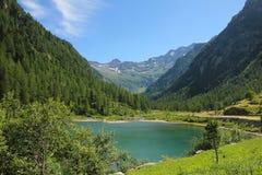 Valle con il lago davanti alle montagne Immagine Stock Libera da Diritti
