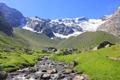 Valle con le alpi ed il fiume Immagini Stock Libere da Diritti
