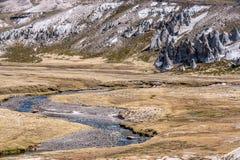 Valle con le formazioni rocciose al BLANCA delle saline y Aguada, Perù fotografia stock