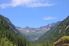 Valle con le montagne delle alpi Immagine Stock Libera da Diritti