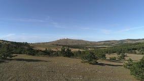 Valle con los árboles coníferos y los abetos contra el cielo azul tiro Vistas escénicas de la colina en la distancia almacen de metraje de vídeo
