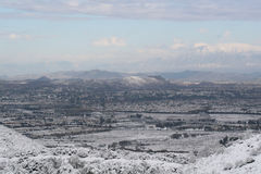 Valle coperta in neve immagine stock