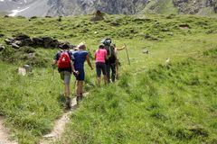 Valle d`Aosta, Italy, August 19 2018: group of hikers walking on italian alps. Valle d`Aosta, Italy, August 19 2018: group of hikers  on italian alps Stock Photos