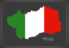 Valle d`Aosta map with Italian national flag illustration. In artwork style Stock Photos