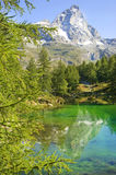 Valle d'Aosta view of the blue lake Stock Images