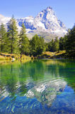 Valle d'Aosta view of the blue lake Royalty Free Stock Image