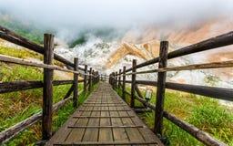 Vallée d'enfer de Jigokudani dans Noboribetsu, Hokkaido, Japon Images stock