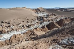 Valle de Λα Luna Moon κοιλάδα στην έρημο Atacama κοντά σε SAN Pedro de Atacama, Antofagasta - Χιλή Στοκ Φωτογραφίες