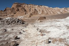Valle de Λα Luna Moon κοιλάδα στην έρημο Atacama κοντά σε SAN Pedro de Atacama, Antofagasta - Χιλή Στοκ Εικόνες