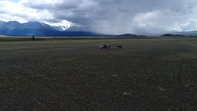Valle de Chulyshman, valle tirado aéreo, valles salvajes almacen de video
