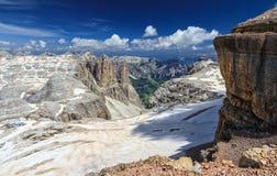 Vallée de Dolomiti - de Mezdi de Piz Boe Photographie stock