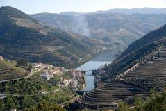 Valle de Douro - envíe la región del viñedo en Portugal. Imagen de archivo