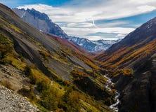 Valle De Frances dolina w Torres Del Paine, Patagonia, Chile zdjęcie stock