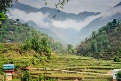 Valle de Huwas, pueblo Nepal del Duro imágenes de archivo libres de regalías